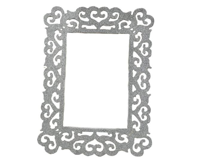 Wood Laser Cut Glitter Photo Frames. Silver