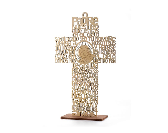 Our Lady Of Guadalupe-Baptism Decorations (Cross) Spanish Version.