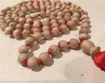 Tulsi, hand knotted mala necklace with cotton tassel