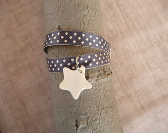 Double Ribbon bracelet with blue satin with star