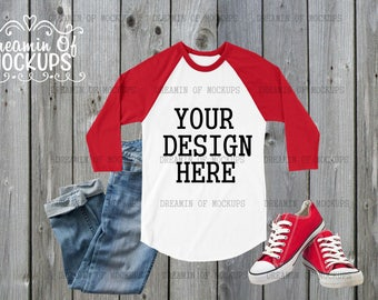Download Free Baseball Tee Mockup - grey wood, mock up, raglan shirt, sneakers, jeans - INSTANT DOWNLOAD PSD Template