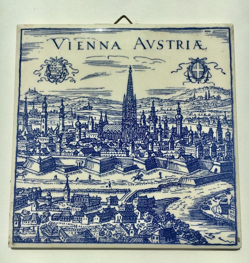 2 Vintage Blue /& White Souvenir Tiles from Austria