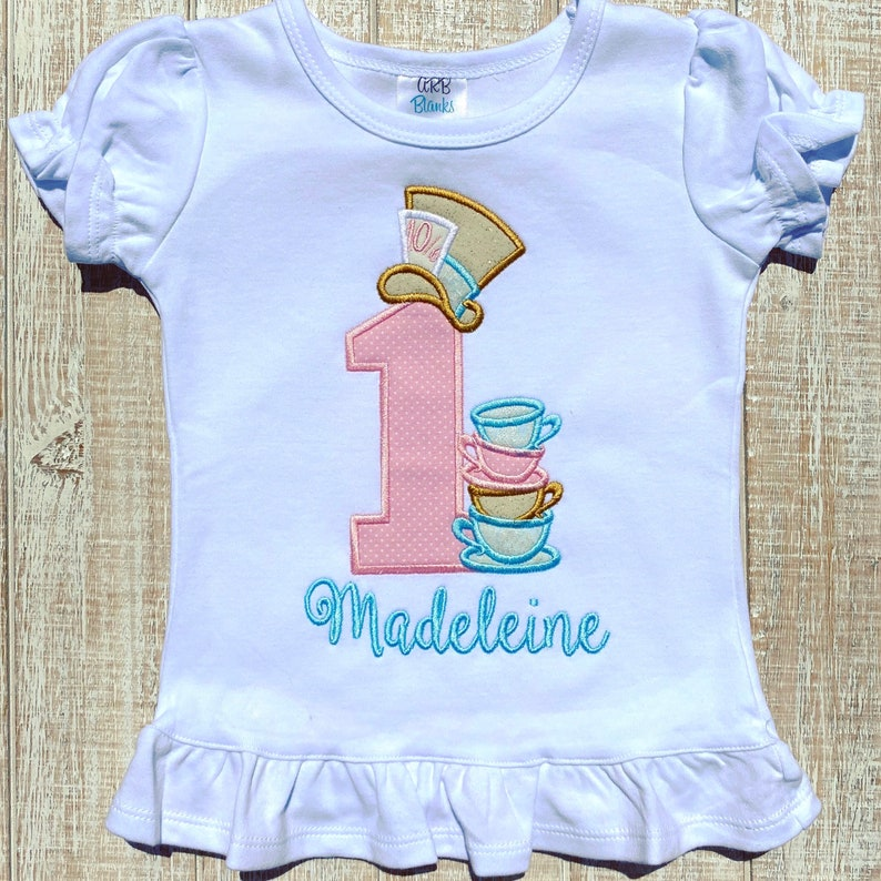 MAD Tea Party Birthday Embroidered Bodysuit or T-Shirt
