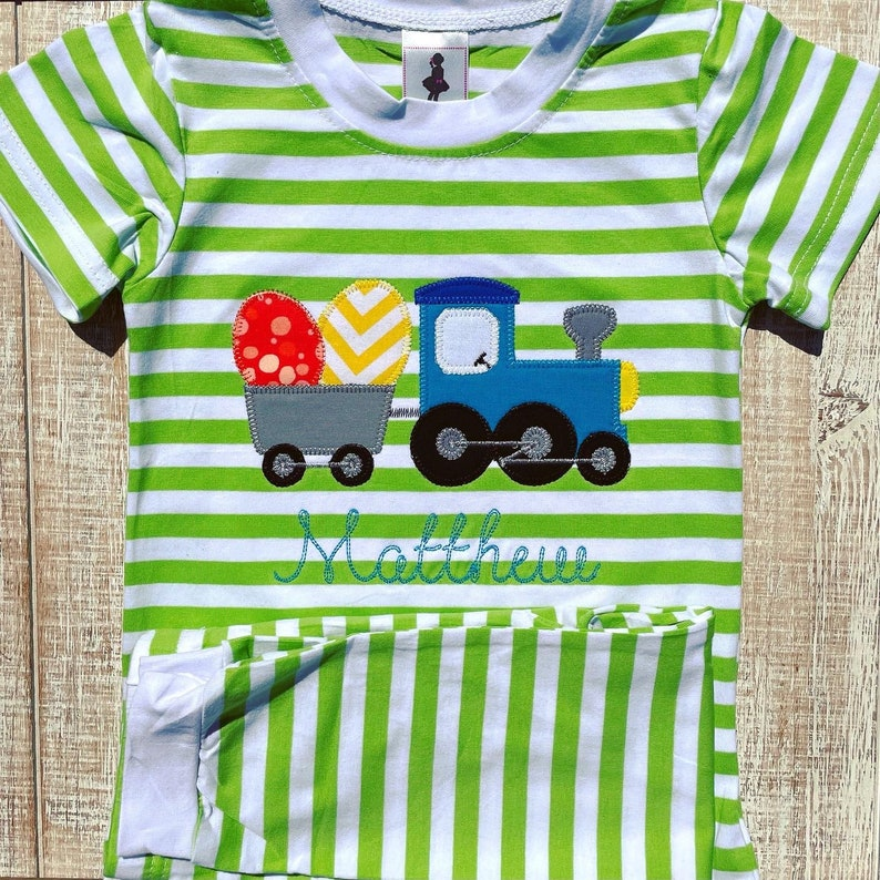Easter Train with Eggs Embroidered Pajamas