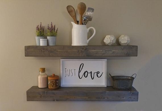 Floating Wood Shelf For Kitchen, Rustic Kitchen Shelves, Floating Wooden  Shelves, Kitchen Shelves, Wooden Shelves for Kitchen