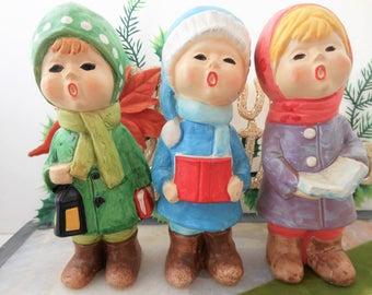 Vintage JAPAN Trio Christmas Caroler Choir LOT 3 Paper Mache Plaster Hand Paint MOD Mid Century Atomic Figure Winter Decor, AtomicShack