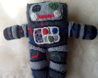 Knitted Robot with embroidered details