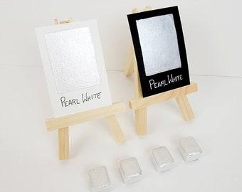 Pearl White Shimmer Watercolor - Handmade Fine Artist Paint Calligraphy ink, Journaling, Brush Lettering Dual Shimmer