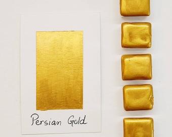 Persian Gold - Handmade Fine Artist Watercolor Paint- Half pan (5ml)