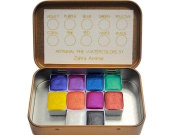 Kaleidoscope Rainbow Watercolor Set - Handmade Artisinal Shimmers