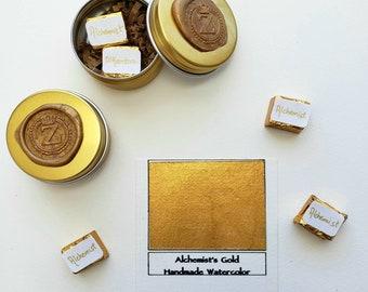 Alchemist's Gold Handmade Watercolor Fine Artist Paint - Half pan (5ml)