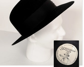 6800a5a7421 Hat Black Fedora Indiana Jones Movie Tie-In Authentic 1984 Lucas Films
