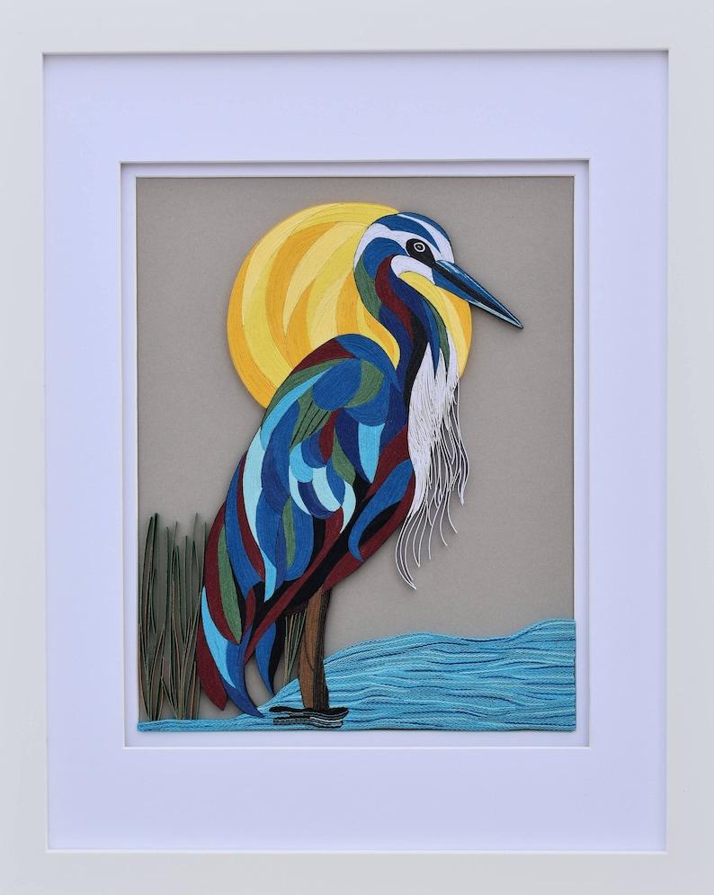 Framed blue tit quilled bird art