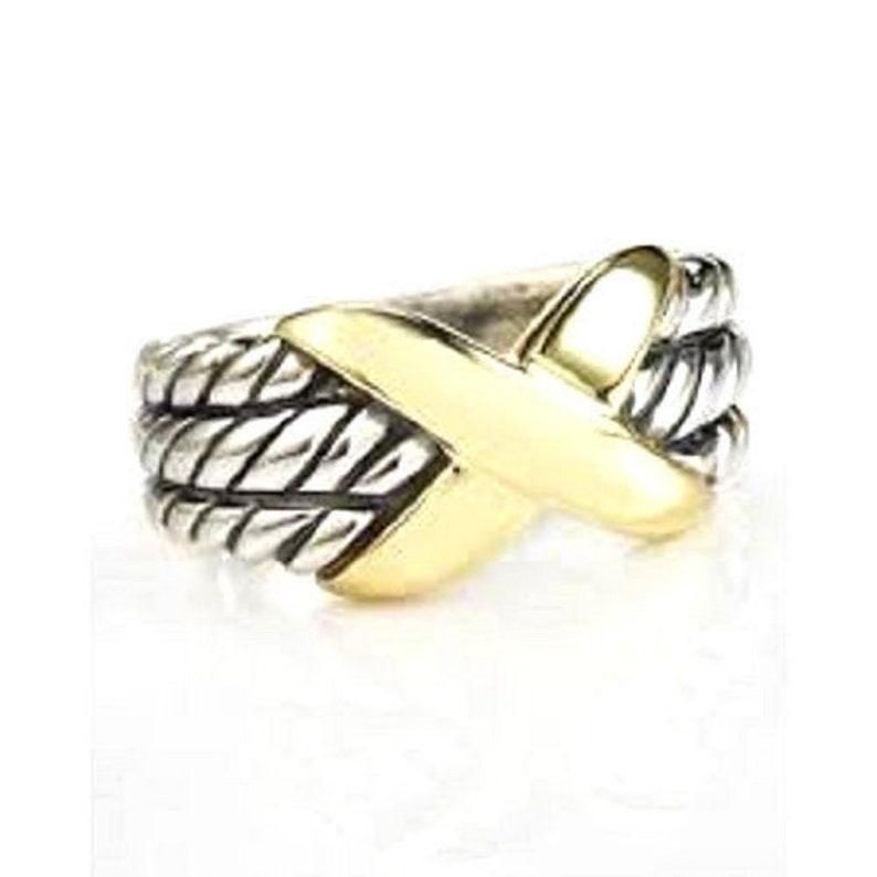 6bce9cbe4a434 Vintage David Yurman 14k yellow gold - silver 925 X style crossover triple  row ring size 5.5
