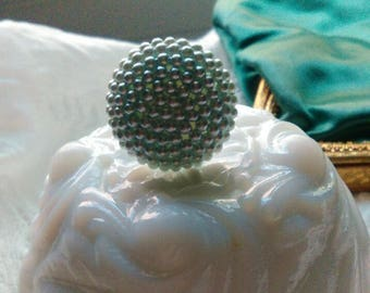 Vintage Button Ring Blue