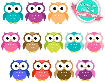 Owl Clipart, Colorful Owls Clipart, Owls Clipart 'CUTE OWL CLIPART' Digital Owls Clipart. Owl Birthday Invitation. Shower Clipart