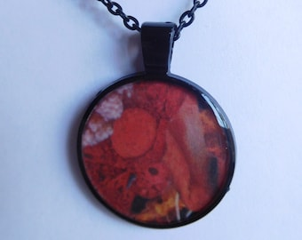 3 Strange Creature Collages resin pendant necklace