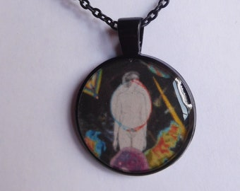 10 Strange Creature Collages resin pendant necklace
