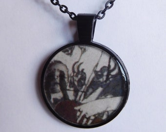 9 Strange Creature Collages resin pendant necklace