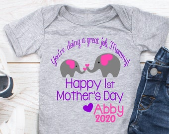 Happy First Mothers Day Baby Romper Funny Cat