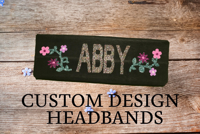Custom Headbands Personalized Headbands Glitter Headband Girls Headbands Flower Headband Cotton Headband Personalized Cotton Headband