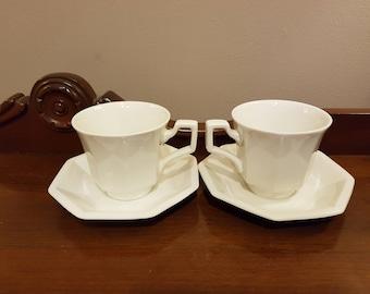 Johnson Bros Ironstone Tea Cups and Saucers