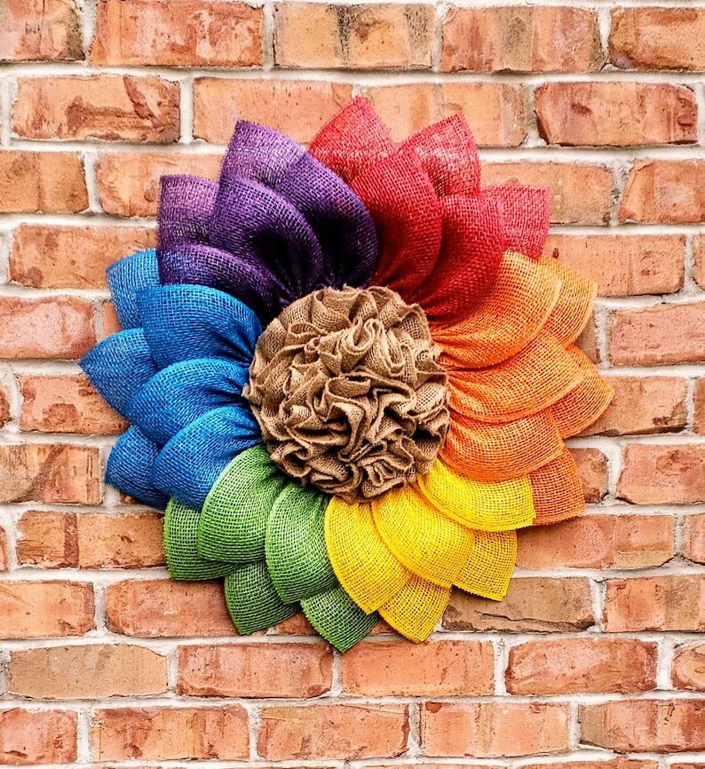 Pride Wreath Rainbow Daisy Rainbow Sunflower LGBTQ Rainbow Door Decor Pride Door Decor Pride Sunflower Rainbow Wreath Pride Daisy