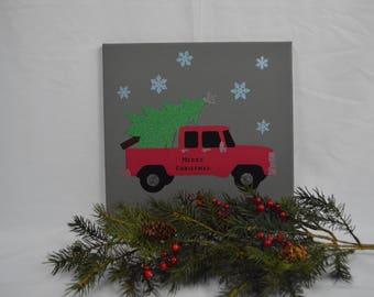 Bringing  Home the Christmas Tree - Custom Canvas
