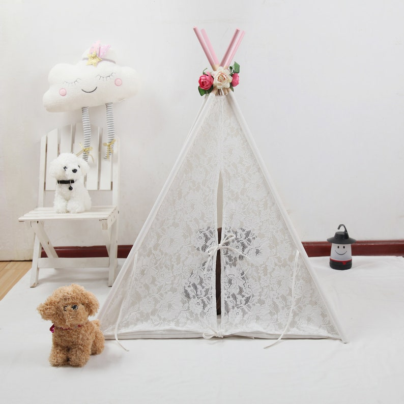 new concept 0828f 181ef 3ft 5ft 6ft White Canvas Lace Teepee with pink poles flowers,Little  Teepee,Mini Teepee,photography shoot Teepee props,dolls tent,dolls tipi