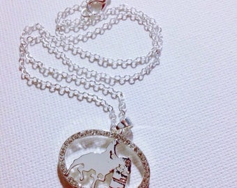 Silver Toned Necklace Silver Horse and Rider Barrel Racing Charm Pendant