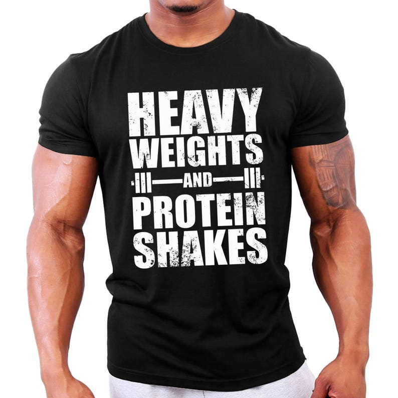 fecdc0ab18e1e Heavy Weights and Protein Shakes Mens Bodybuilding T-Shirt - Gym / Workout  / Fitness / Motivation