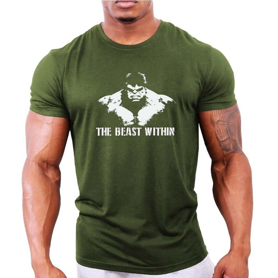 5d47cc62ec65f The Beast Within Hulk Mens Bodybuilding T-Shirt - Gym / Workout / Fitness