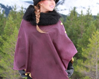 wax Cape / Poncho / Wrap with detachable faux fur collar