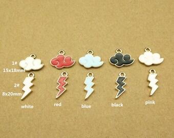 6 sets gold tone Cloud lightning bolt charm gold Small Cloud lightning charm