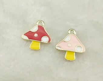 6pcs-Mushroom charm with crystal-enamel Mushroom charm-more colors