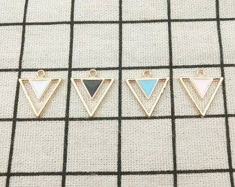 6pcs-enamel black Triangle charm-You pick the color