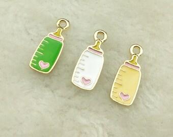 10pcs Baby Feeding Bottle Beads Tibetan Silver Charms Pendant DIY