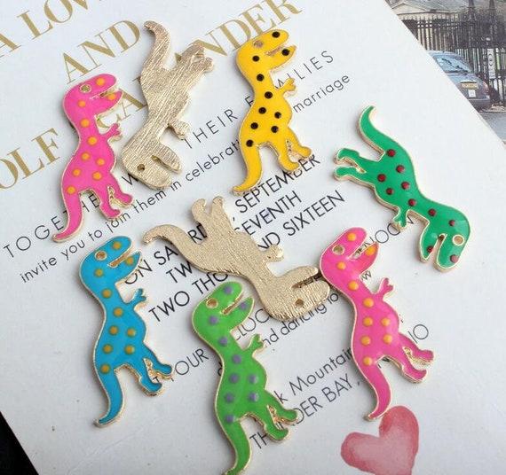 10Pcs1.8*3cm Enamel Dinosaur Charm Pendant DIY Earring Keychain Necklace Making
