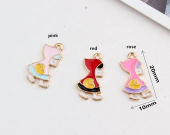 10PCS, 10x20mm, Little Red Riding Hood Charms, Girl Charms, Gold Tone, Jewelry and Craft Supplies, Findings