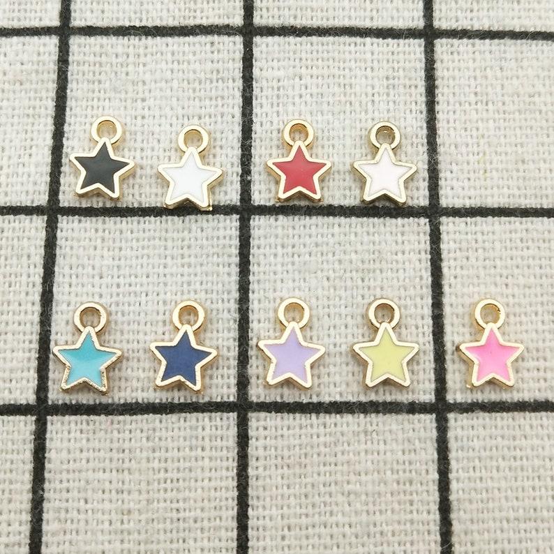 Bracelet Charm Tiny Star Star Charm Enamel Jewelry Gold Tone 6x9MM Enamel Charm 20PCS Craft Supplies