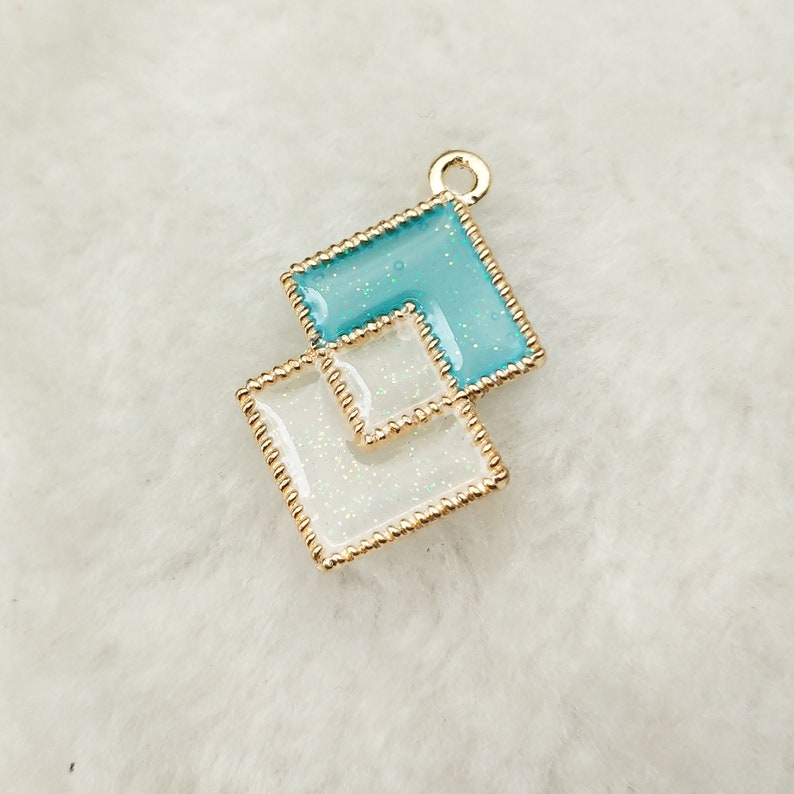 10PCS Square Charms Enamel Charms Bracelet Charms Craft Supplies Jewelry Charm Pendant /& Finding 17x28MM