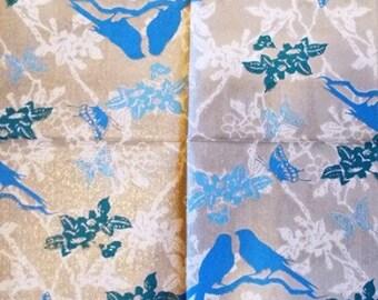 TOWEL in blue paper birds and butterflies #AN082