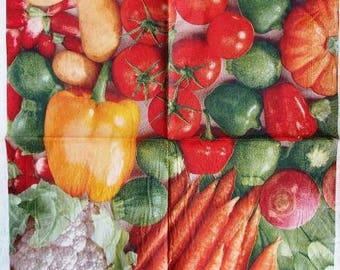 TOWEL in paper #AL026 garden vegetables