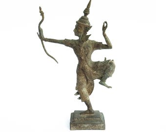"""Lord Rama Bronze Figurine Statue Archer Hand Craft By Local Thai Artisans From Chiang Mai, Thailand. 9""""L x 3.5""""W x 15""""H."""
