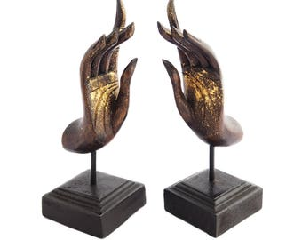 """Buddha Hands Artifacts Statues In Pair, Handcrafted Jewelry Holder or Blessing Sculptures Made from Chiang Mai, Thailand. 4""""W x 13""""H."""