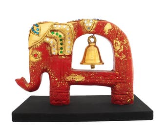 """Elephant Lucky Feng Shui Chang Sculptures, Handcrafted Artifacts Bell From Wood, Chiang Mai, Thailand. 9.5""""L x 5""""W x 7""""H."""