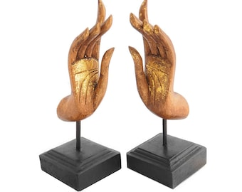 """Feng Shui Buddha Mudra Sculptures, Handcrafted Meditation Statues For Home In Pair Made in Chiang Mai, Thailand. 5""""W x 16""""H."""