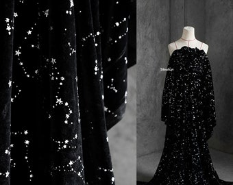 Luxury peluche Velvet,Black Velvet with Shiny Starry Sky,Gilding Fabric,Clothing Fabric