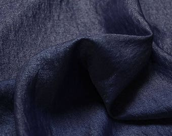 Navy silk linen fabric solid color linen fabric breathable soft fabric linen organic fabric clothing fabric craft by yard