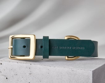 Dark Green Leather Dog Collar, Engraved Dog Collar with Brass hardware, Personalised Dog Gift